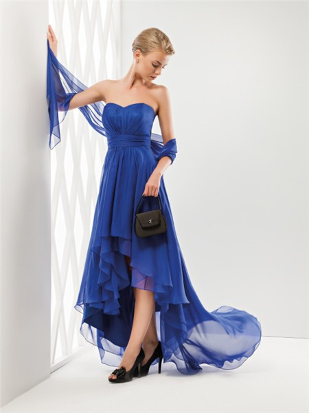 Fashion Cute Strapless Sweetheart Neckline High Low Royal