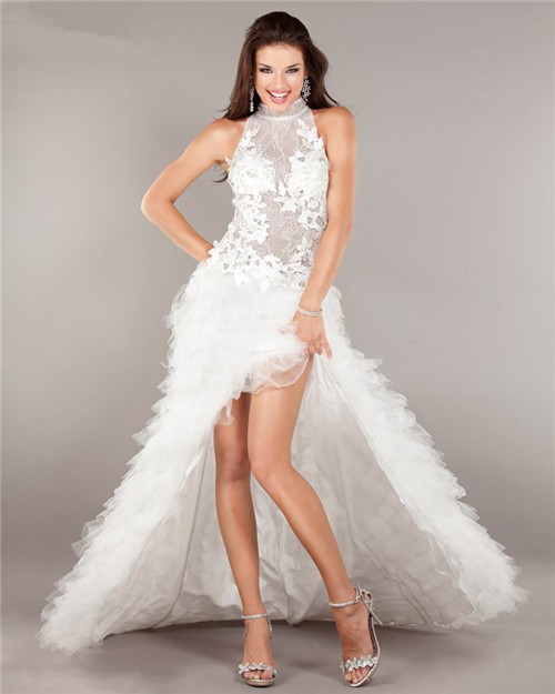 Fashion High Low Backless White Lace Tulle Ruffle Prom