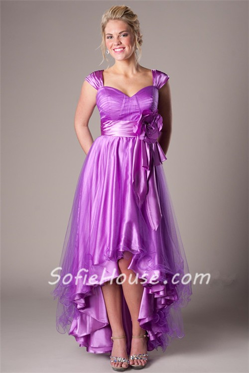 Fashion High Low Lilac Satin Tulle Party Prom Dress With