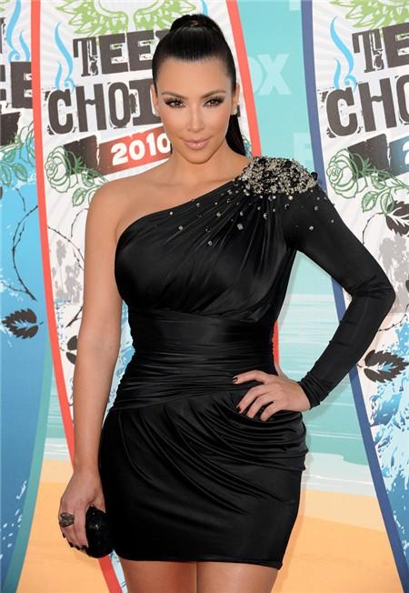 Fashion One Sleeve Short Mini Kim Kardashian Black Dress