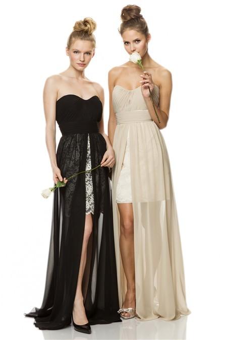 Fashion Strapless High Low Black Chiffon Beige Lace