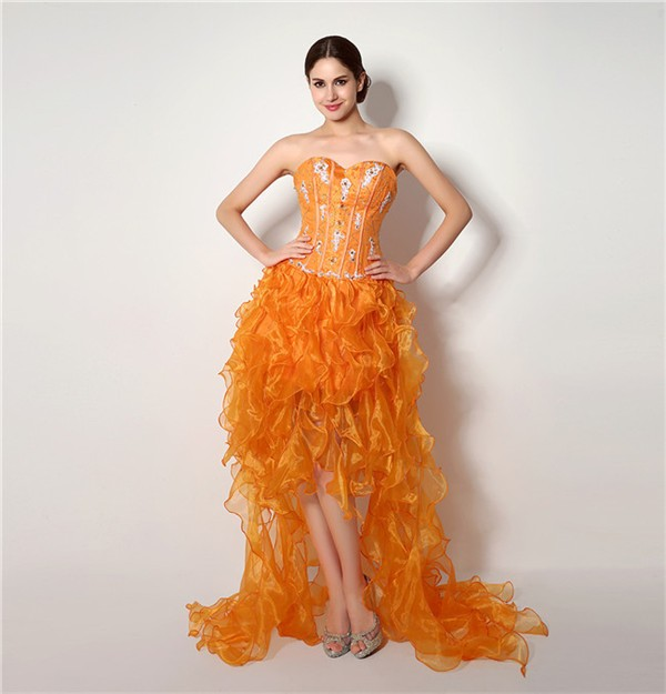 Fashion Strapless High Low Orange Organza Ruffle Corset