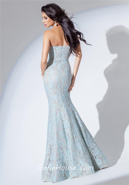 Fit And Flare Mermaid Strapless Light Blue Lace Evening