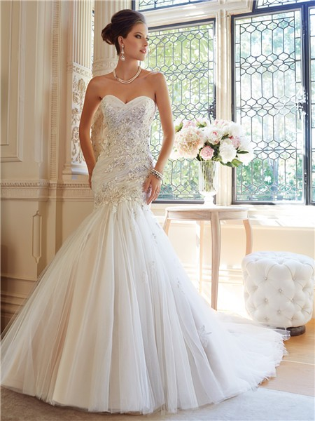 Fit And Flare Mermaid Strapless Tulle Lace Lique Crystal Wedding Dress Corset Back