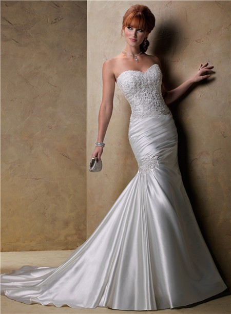 Fit And Flare Mermaid Sweetheart Beaded Lace Satin Wedding