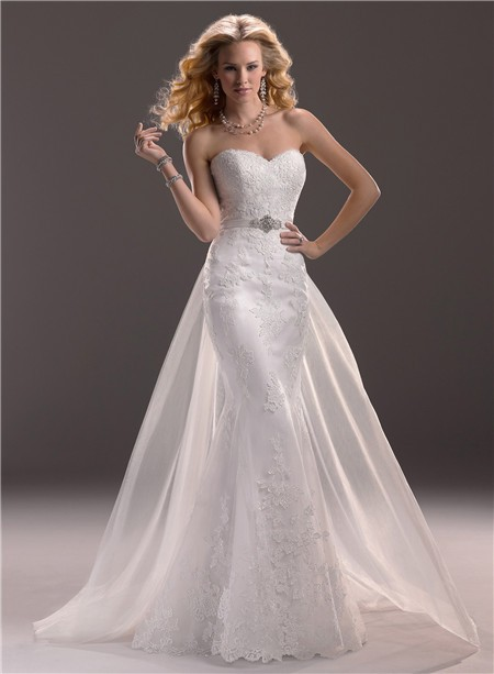 Fit And Flare Mermaid Sweetheart Lace Wedding Dress With