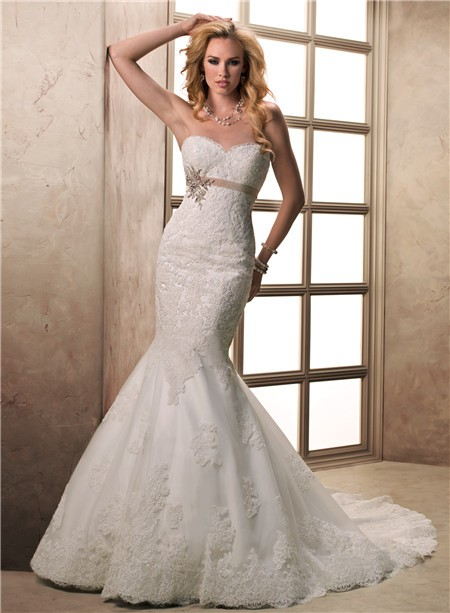 Fit And Flare Mermaid Sweetheart Lace Wedding Dress With Sash Ons