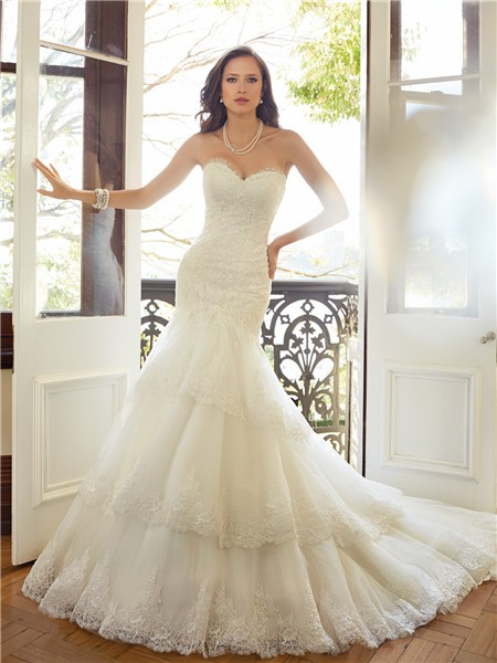 Fit And Flare Mermaid Sweetheart Neckline Tiered Lace Corset Wedding Dress
