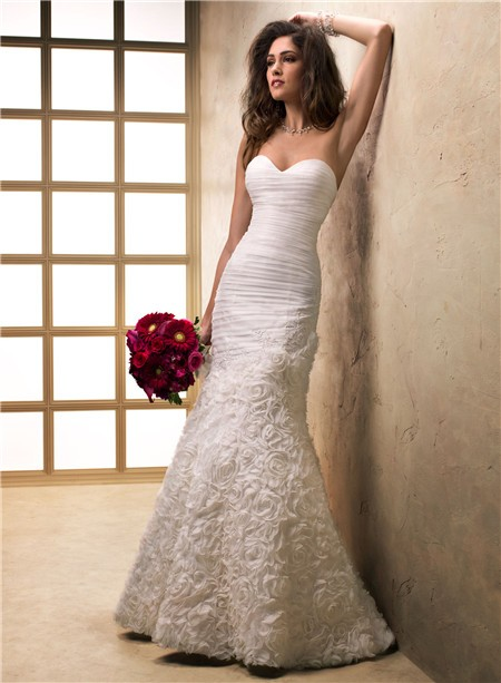 Fit And Flare Mermaid Sweetheart Textured Organza Fl Wedding Dress Corset Back