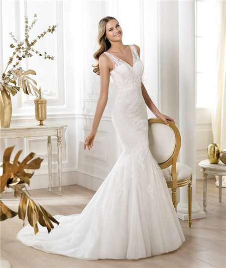 Lace Mermaid Wedding Gown With Straps: Fit And Flare Mermaid V Neck Tulle Lace Wedding Dress With