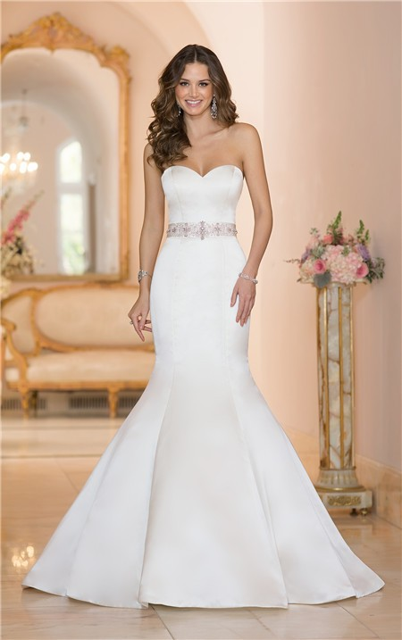 Fit And Flare Strapless Satin Wedding Dress With Crystals Sash Ons