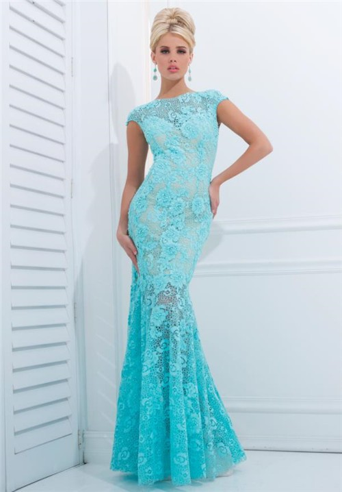 Fit And Flare Trumpet Mermaid Cap Sleeve Aqua Lace Beaded
