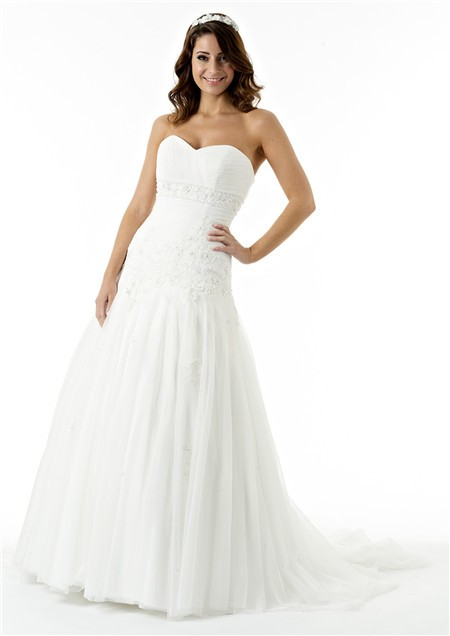 Fitted A Line Strapless Sweetheart Lace Tulle Draped