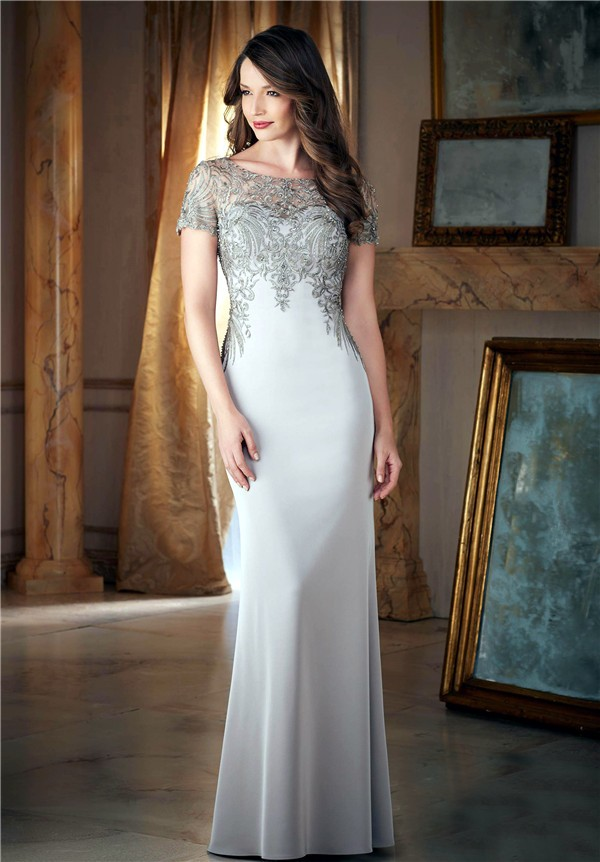 fitted bateau neck long silver satin embroidery beaded
