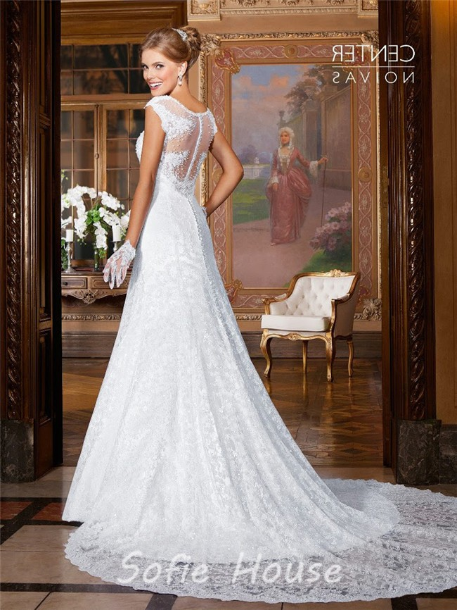 Fitted Empire Waist Sheer Back Lace Pearl Beaded Wedding