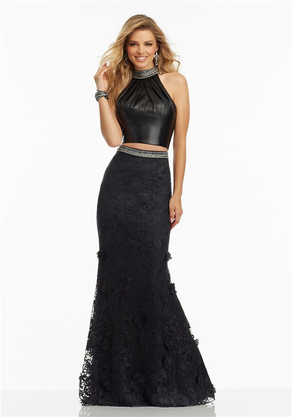 Fitted Halter Open Back Two Piece Black Leather Lace Prom