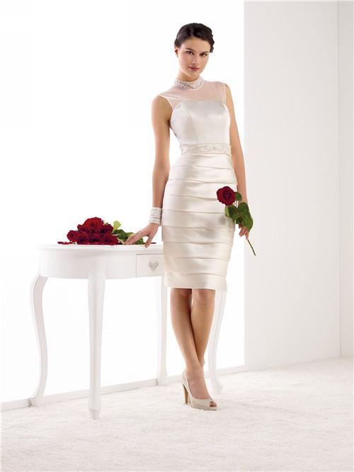 Ed High Neck Illusion Back Satin Pleated Short Wedding Dress Beaded Sash