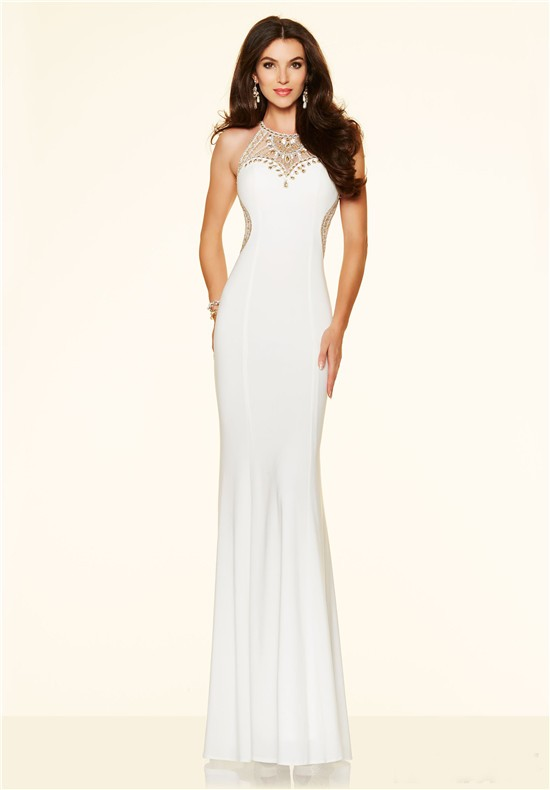 Fitted High Neck Open Back Long White Jersey Gold Beaded