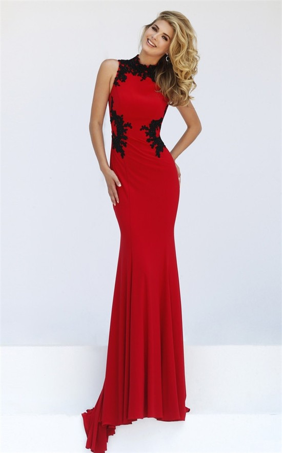 Fitted Hight Neck Sleeveless Red Jersey Black Lace Evening
