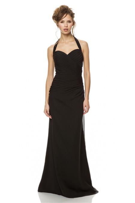 Ed Mermaid Halter Sweetheart Backless Long Black Chiffon Ruched Wedding Guest Bridesmaid Dress