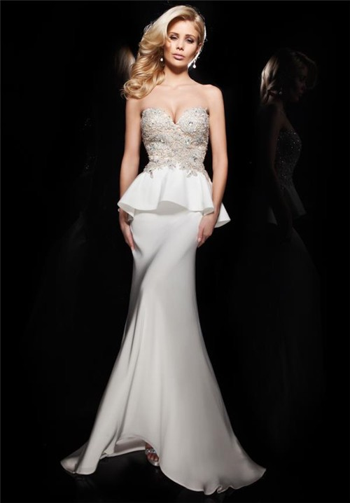 Fitted Mermaid Sweetheart Long White Chiffon Lace Beaded
