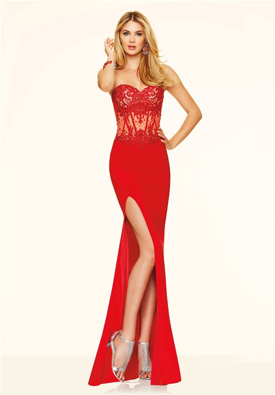 Fitted Strapless High Slit See Through Red Lace Beaded