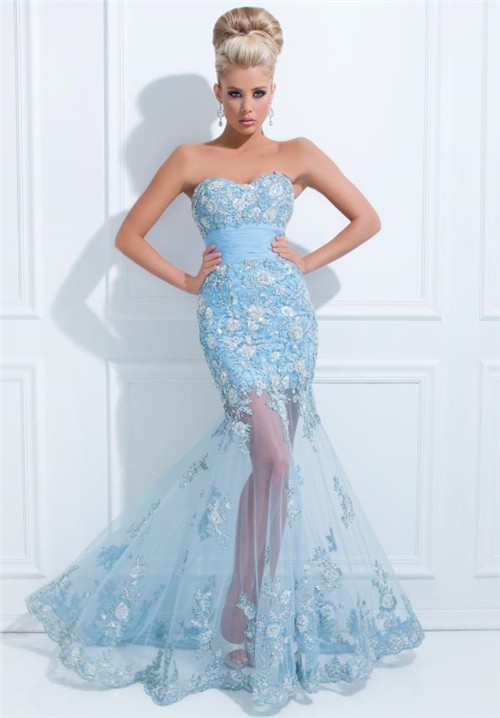 Flared Mermaid Strapless Long Light Blue Tulle Floral