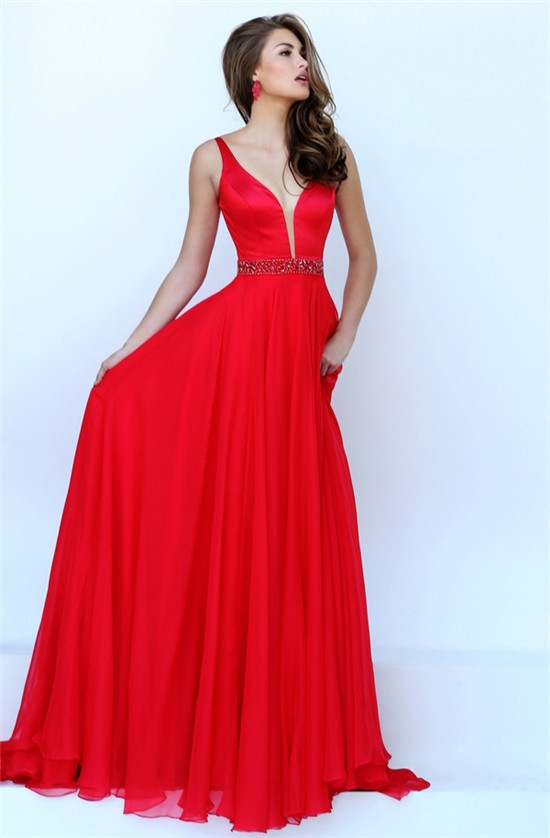Flowing A Line Plunging Neckline Long Red Chiffon Beaded
