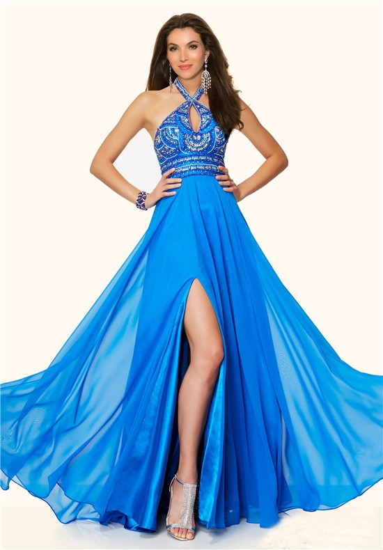 Flowing Halter Cut Out Long Blue Chiffon Beaded Prom Dress