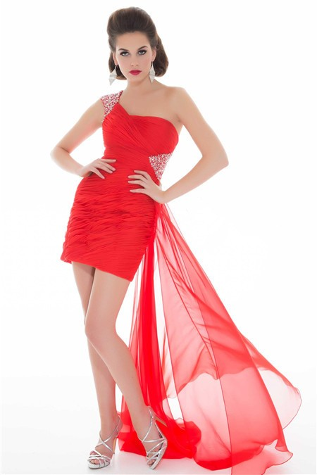 Flowing One Shoulder Short Mini Red Chiffon Homecoming