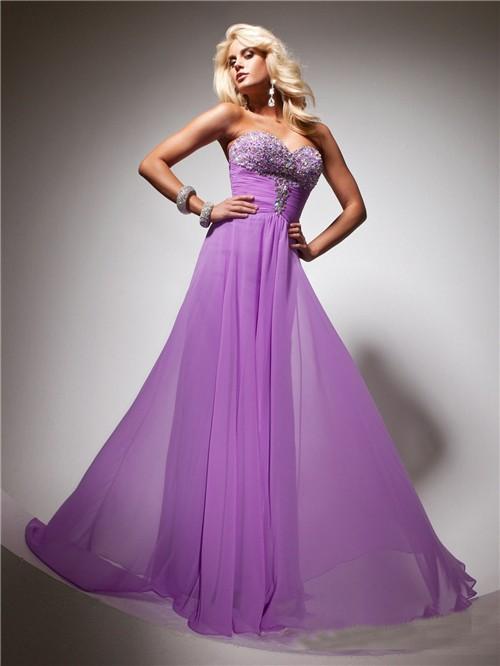 Flowy Sweetheart Long Purple Lilac Chiffon Beaded Evening