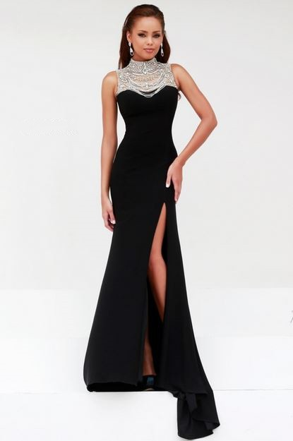 Formal Sheath High Neck Backless Long Black Chiffon Beaded