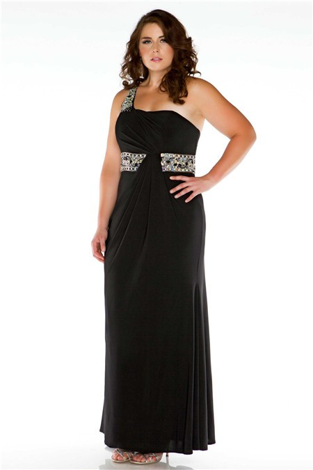 Formal Sheath One Shoulder Long Black Jersey Beaded Plus