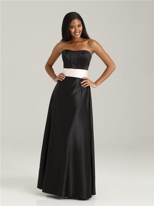 Formal Sweetheart Floor Length Long Black Silk Bridesmaid