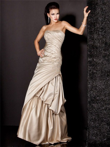 Gorgeous A Line Strapless Long Champagne Satin Beaded