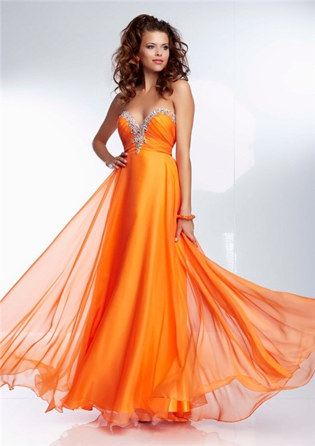 Gorgeous A Line Sweetheart Long Orange Chiffon Beaded Prom