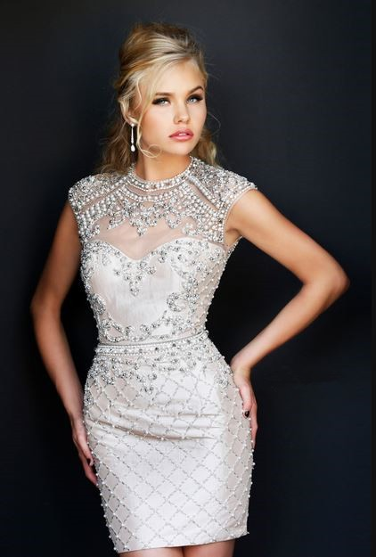Gorgeous High Neck Cap Sleeve Backless Short Pearl Beaded
