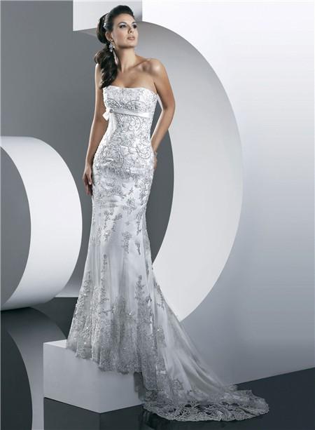 Gorgeous Mermaid Strapless Summer Beach Lace Wedding Dress