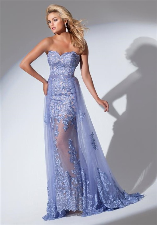 Gorgeous Sweetheart Neckline Long Lavender Lace Prom Dress
