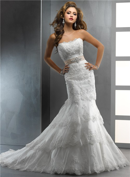 tiered wedding dress gorgeous trumpet mermaid strapless tiered beaded lace 7997