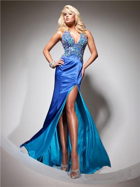 Halter V Neck Long Royal Blue Silk Beading Prom Dress With