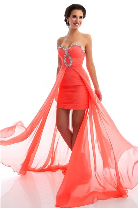 High Low Strapless Coral Chiffon Beaded Homecoming Party