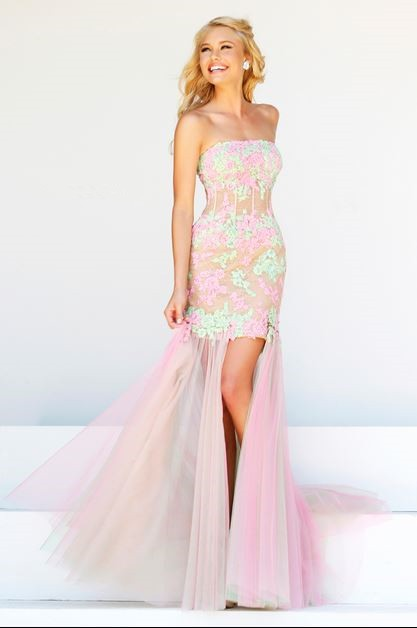 High Low Strapless Sheer See Through Corset Pink Green