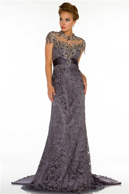 High Neck Cap Sleeve Backless Long Charcoal Grey Lace