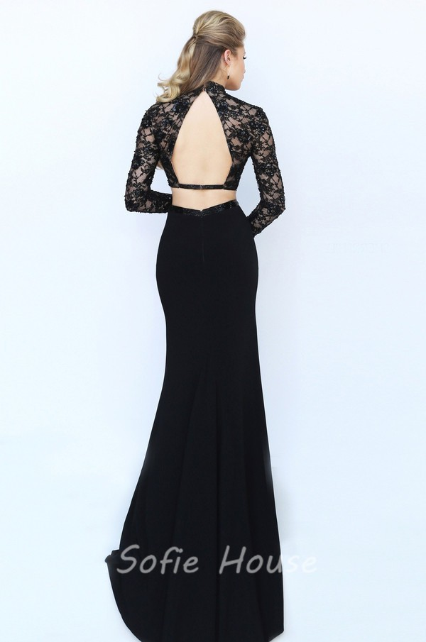 Fitted High Neck Open Back Long Sleeve Black Jersey Beaded