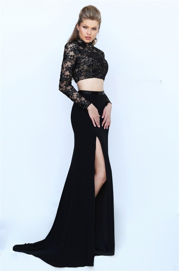 High Neck Open Back Long Sleeve Two Piece Black Lace