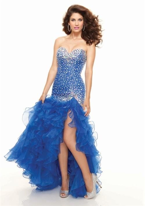 High Low Sweetheart Organza Royal Blue Prom Dress With