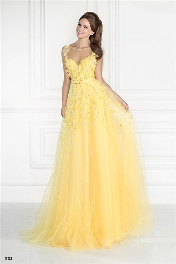 Illusion Neckline Sleeveless Long Yellow Tulle Beaded Prom