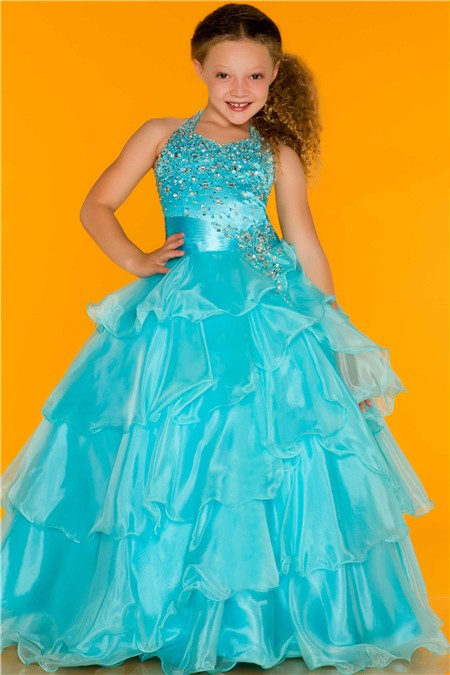 Lovely Princess Ball Halter Aqua Blue Organza Ruffle Girl