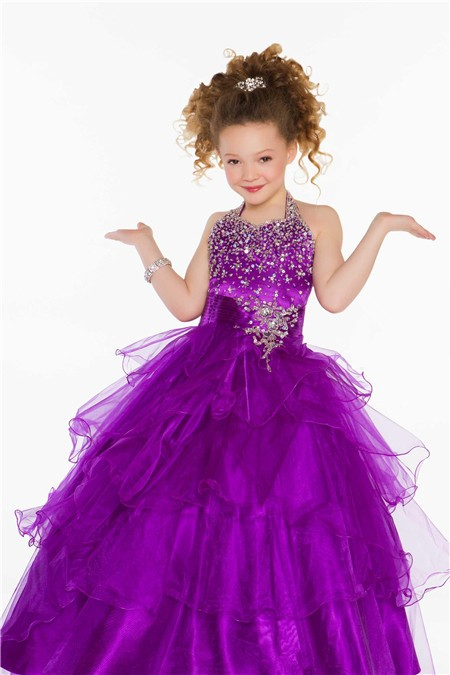 Lovely Princess Ball Halter Purple Organza Ruffle Girl